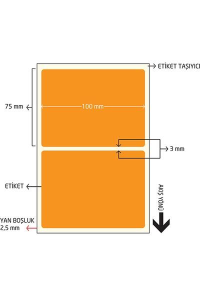 On Roll Paper 75X100 Turuncu Renkli Termal Barkod Etiketi 500'LÜ Sarım 6 Rulo Toplam: 3.000 Adet