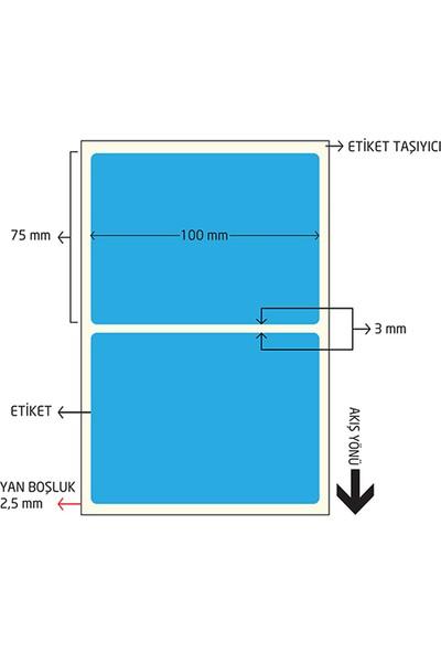 On Roll Paper 75X100 Mavi Renkli Termal Barkod Etiketi 500'LÜ Sarım 6 Rulo Toplam: 3.000 Adet