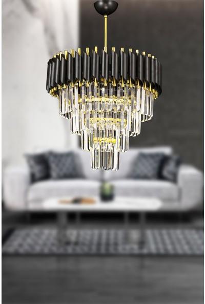 Avize Moda Palmira 45'lik Kristal Taşlı Lüks Avize - SIYAH-GOLD7812592693177