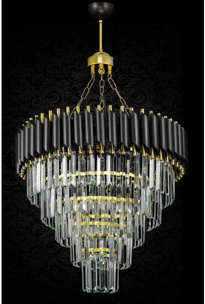 Avize Moda Palmira 55 Cm'lik Kristal Taşlı Lüks Avize - Siyah-Gold