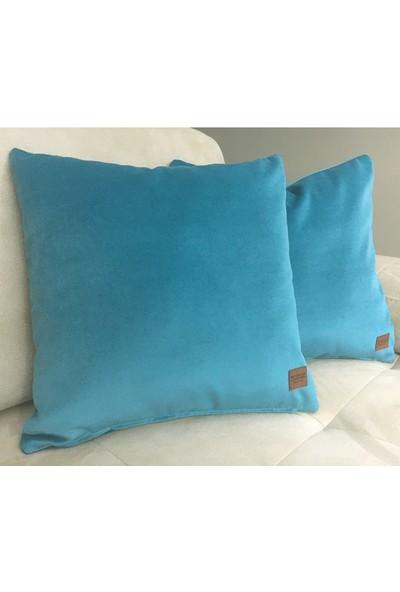 Arasta Design Turkuaz Mavi 2'li Set, Kadife Dekoratif Kırlent Kılıfı, 43 x 43 cm