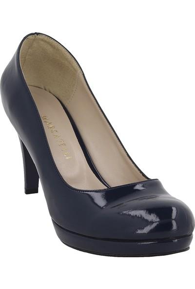 Marcamiss Lacivert Rugan Deri Platform Topuk Kadın Ayakkabı 2016