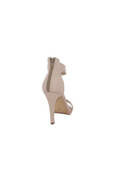 Marcamiss Ten Deri Topuklu Yazlık Kadın Ayakkabı 106