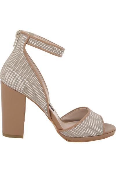 Marcamiss Vizon Deri Yazlık Topuklu Kadın Ayakkabı 7306