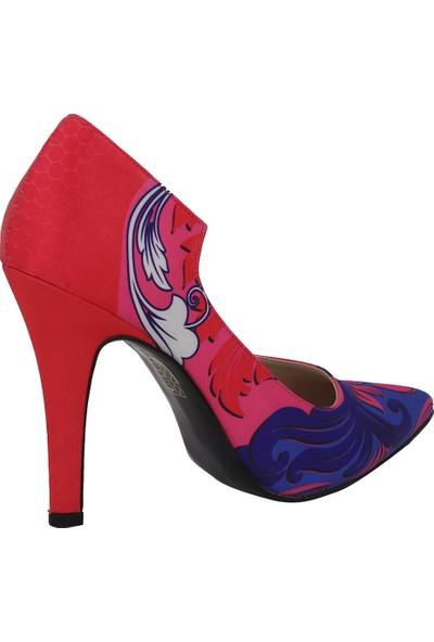 Marcamiss Kırmızı Saten Topuklu Stiletto Kadın Ayakkabı 7366