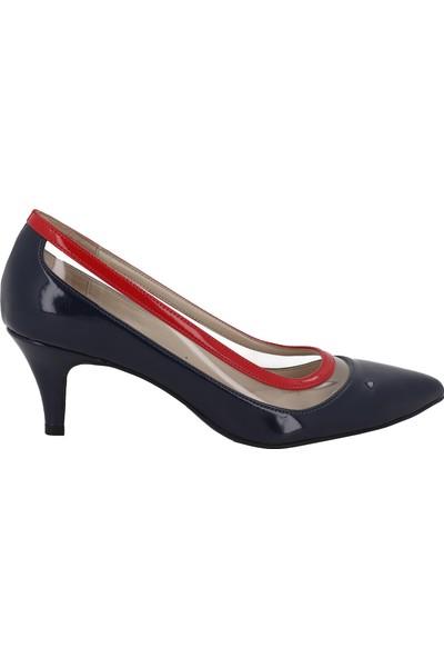 Marcamiss Lacivert Rugan Deri Topuklu Stiletto Kadın Ayakkabı 116
