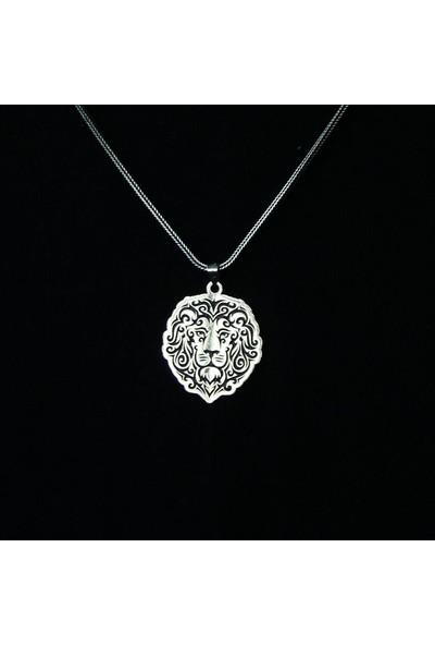 Mavili Aslan Kafası Gümüş Kolye 55 cm
