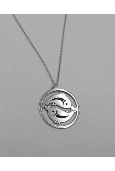 Mavili Çember Balık Burcu Gümüş Kolye Gümüş Renk 55 cm