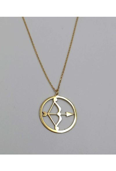 Mavili Çember Yay Burcu Gümüş Kolye Altın 45 cm