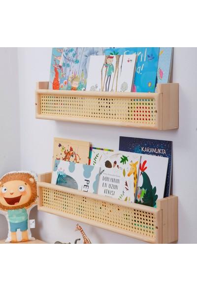 Minibon Hazeranlı Masif Ahşap Montessori Kitaplık Bebek ve Çocuk Odası