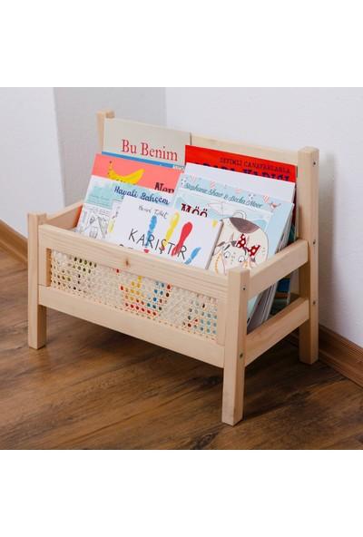 Minibon Hazeranlı Masif Ahşap Montessori Bank Kitaplık ve Dergilik