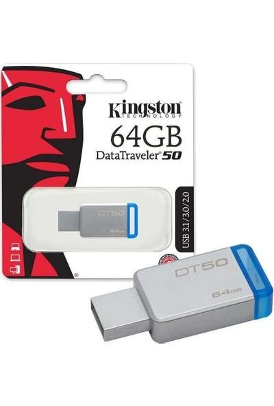 Kingston 64GB Usb3.1 Bellek Metal Mavi DT50/64GB