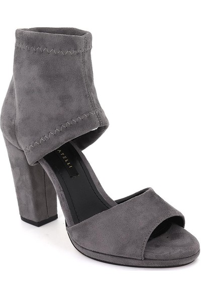 Marcamiss Gri Süet Deri Yazlık Topuklu Kadın Ayakkabı 7484