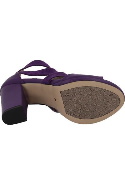 Marcamiss Mor Deri Yazlık Topuklu Kadın Ayakkabı 7321
