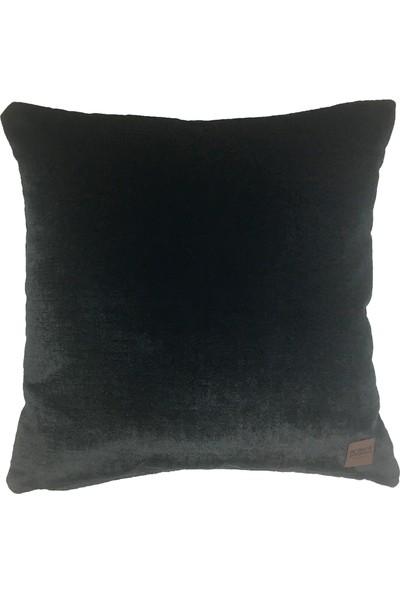 Arasta Design 2'li Siyah Kırlent Kılıfı, Kadife Dekoratif Kırlent Kılıfı Düz Renk, 43X43 cm