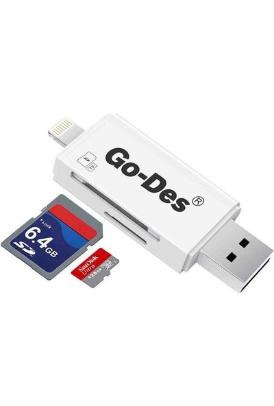 Go-Des GD-DK102 Lightning Kart Okuyucu Beyaz