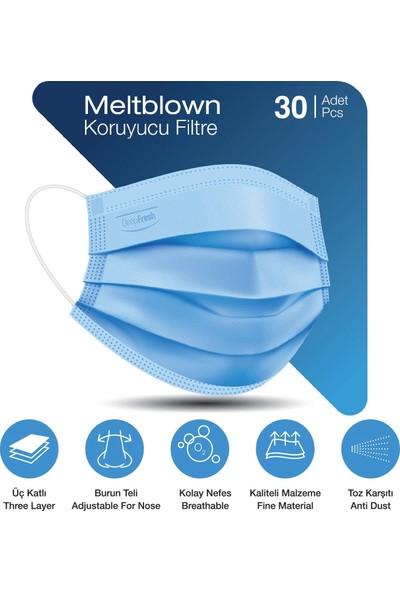 Deep Fresh 3 Katlı Telli Cerrahi Maske 3'lü Paket 30 Adet