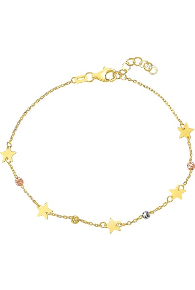 Melike Gold 14 Ayar Altın Yıldızlı Dorika Bileklik