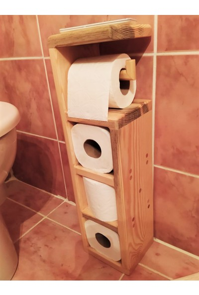 4mhome Ağaç Tuvalet Peçeteliği Rulo 3 Raflı 4'lü