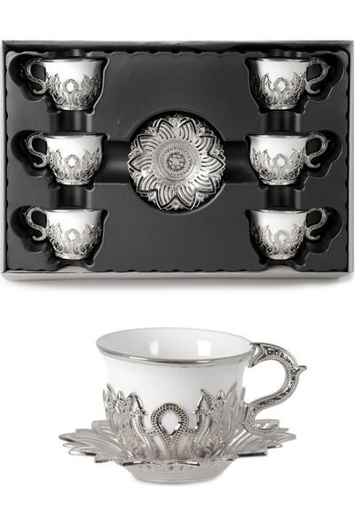 İpek Porselen Ahsen Tiryaki 6 Kişilik Sade Kahve Fincan Takımı Gümüş