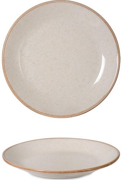 İpek Porselen 6'lı Pasta Tabağı 21 cm Bej