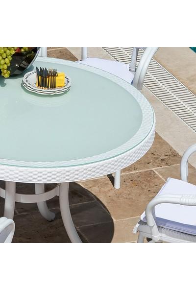 Tilia Q110 Metal Ayaklı Masa 2-4-6 Kişilik Rattan Efektli Camlı Bahçe Balkon Masası