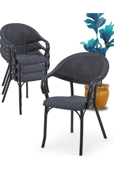 Tilia Flash R 4'lü Rattan Efektli Koltuk Sandalye 6 Renk Seçeneği