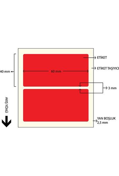 On Roll Paper 60X40 Kırmızı Renkli Termal Barkod Etiketi 1000'LI Sarım 10 Rulo Toplam: 10.000 Adet