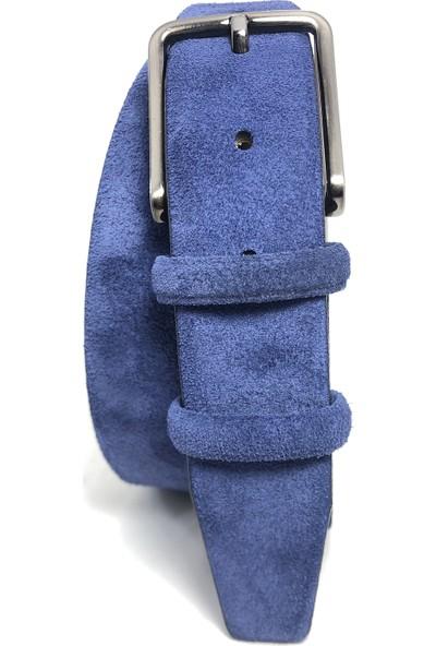 Giray Deri Süet 3.5 cm Mavi Kemer