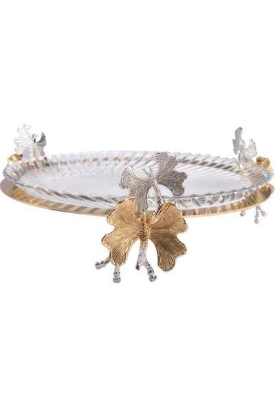 Roy King Gümüş Altın Kelebek Standlı Servis Tabak 31Cm