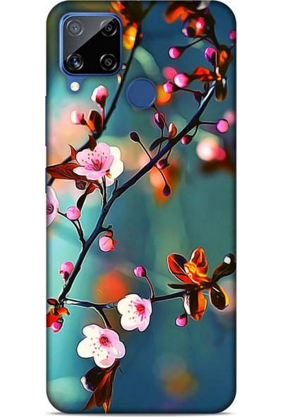 Lopard Oppo Realme C15 Uyumlu Kılıf Bahar (45) Liquid Air Kılıf Beyaz Pembe Çiçek