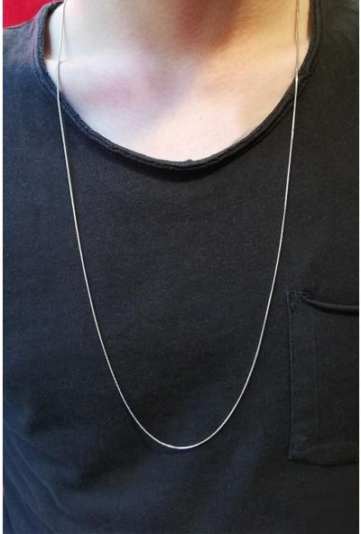 Cosibella Unisex Gümüş İnce Yılan Model Çelik Zincir 80 cm
