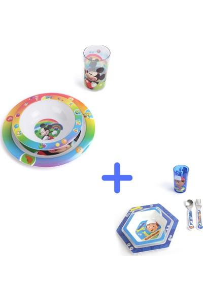 Trudeau 2set Beraber 3'lü Mickey Gökkuşağı Set + 5'li Disney Handy Manny Çocuk Yemek Takımı