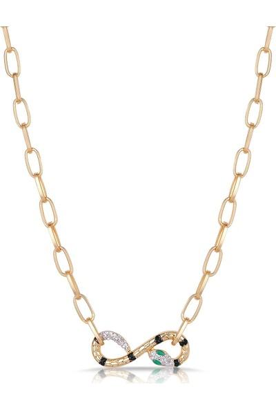 Frnch Kadın Yılan Figürlü Zirkon Taşlı Gold Kolye FRJ30417-517-G