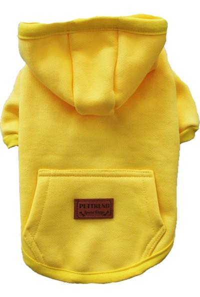 Pettrend Sarı Kanguru Cepli Kedi-Köpek Hoodie- Sweatshirt Kedi Köpek Kıyafeti