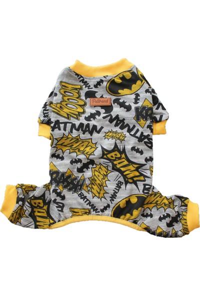 Pettrend Gri Batman Penye Tulum Kedi Köpek Tulumu Kedi Köpek Kıyafeti