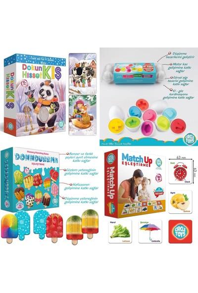 Circle Toys 4 Lü Eğitici 1-3 Yaş Seti (Dokun Hisset Kartlar-12 Li Yumurta -Dondurma EŞLEME-140 Adet Eşleme