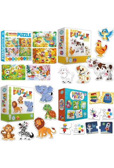 Circle Toys 4 Lü Puzzle Seti(4 Mevsim -Orman Hayvanları-Çiftlik Hayvanları-Connect ) Puzzle