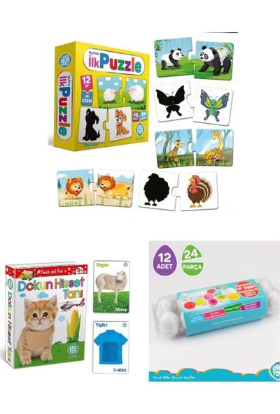 Circle Toys 3 Lü Eğitici Set (Ilk Puzzle-Dokun Hisset Kartlar-12 Li Yumurta Eşleştirme)