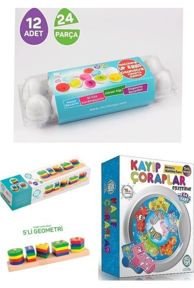 Circle Toys 3 Lü Eğitici Set (Ahşap 5 Li BULTAK-12Lİ Yumurta Eşleştirme-Kayıp Çoraplar)