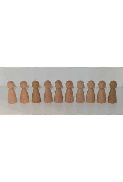Kırtkırt Ahşap Montessori Peg Bebek Mini İnsancık Boyasız 10'lu Set