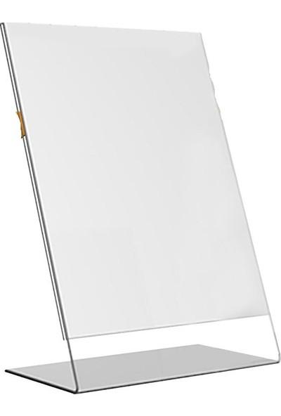 Etias Reklam A4 L Tipi Dikey Masa Üstü 2.8 mm Şeffaf Pleksi Föylük Broşürlük