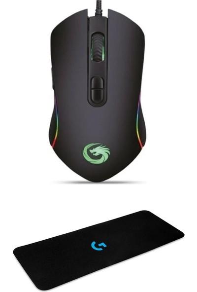 Lunatic Hawk Siyah Makrolu 6400DPI Rgb Ledli Gaming Oyuncu Mouse + Mouse Pad