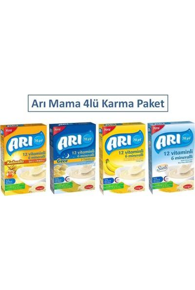 Arı Mama 250 gr 4lü Karma Paket - Ballı Irmikli + Sütlü + Muzlu + 7 Tahıllı Gece
