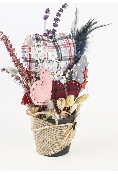 1Se2Ge Handmade Saksı Da Dizayn Edilmiş El Yapımı Kalplerve Doğal Kurutulmuş Çiçekler