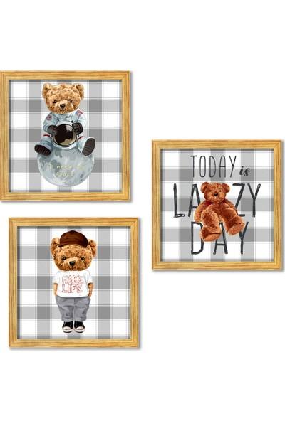 Nesart Ahşap Çerçeveli Çocuk Odası Cute Bear 3'lü Tablo Set