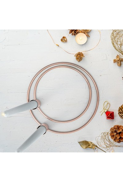 Coho Circles 2 Li Çember Şamdan Seti - 20&16 cm - Bakır Renk