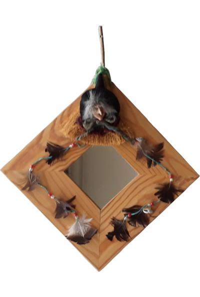 Bodrum Bazaar Ahşap Tüylü Açık Kahverengi 25,50X25,50 Duvar Aynası