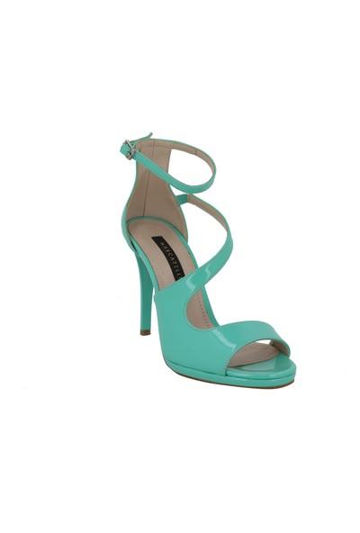 Marcamiss Yeşil Rugan Deri Topuklu Yazlık Kadın Ayakkabı 108