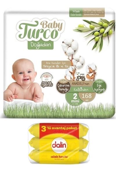 Baby Turco Doğadan 2 Numara Bebek Bezi 3-6 kg 168 Adet + Dalin Islak Havlu Mendil 3'lü 168 Yaprak